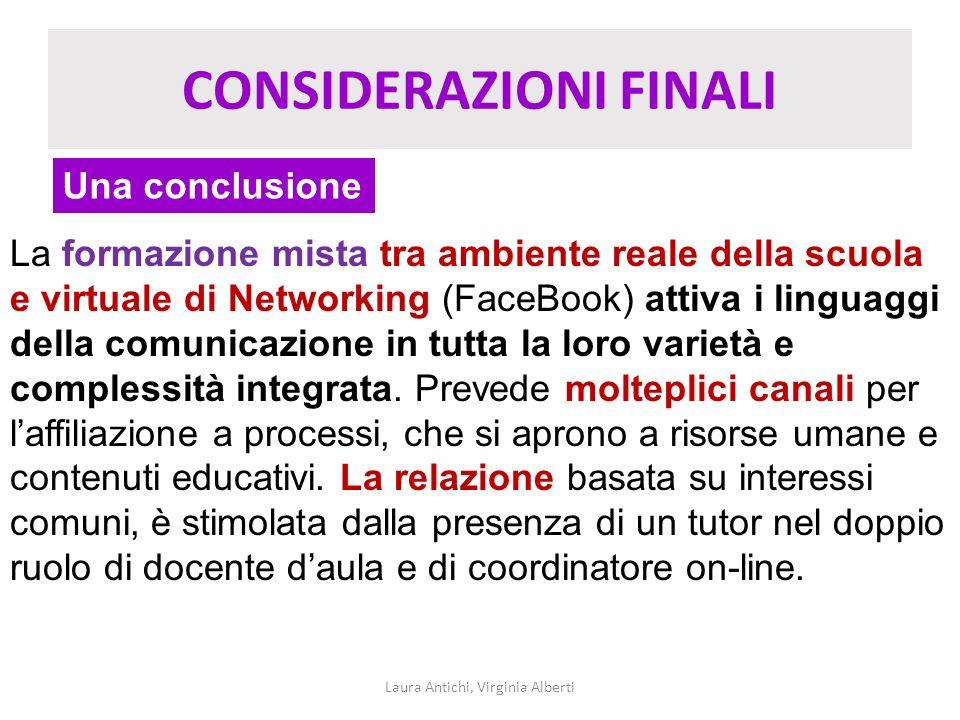 CONSIDERAZIONI FINALI Laura Antichi, Virginia Alberti Una conclusione La formazione mista tra ambiente reale della scuola e virtuale di Networking (Fa