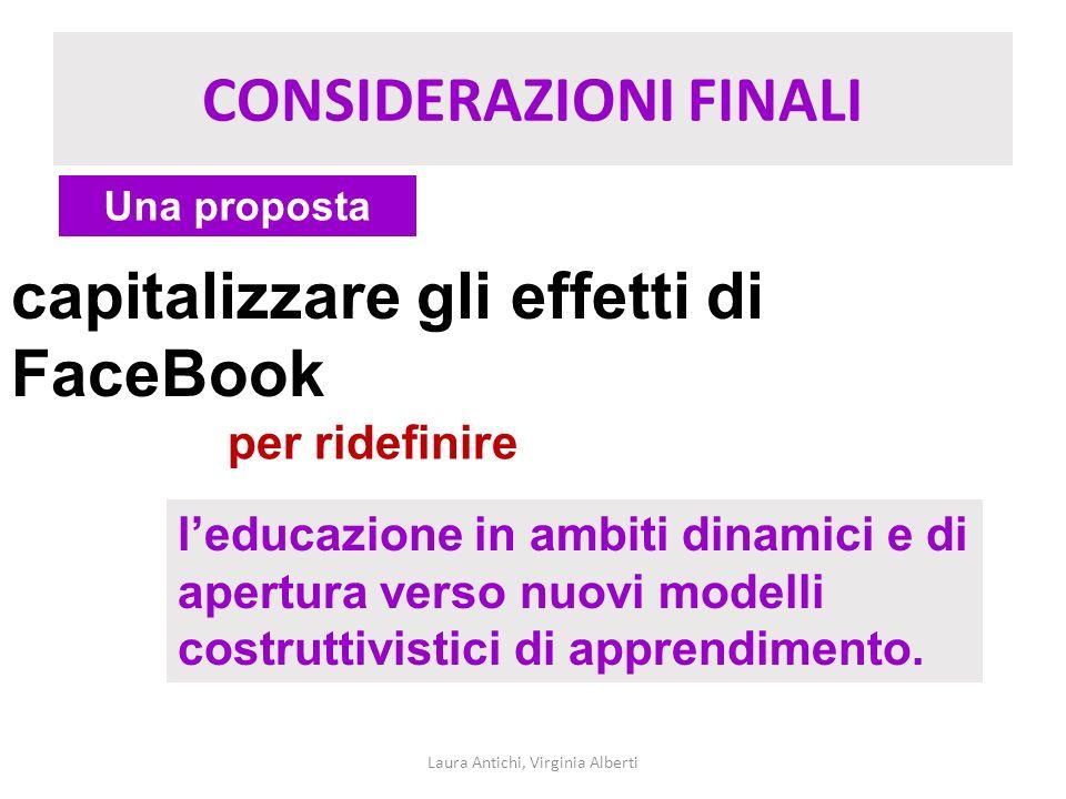 CONSIDERAZIONI FINALI Laura Antichi, Virginia Alberti Una proposta capitalizzare gli effetti di FaceBook per ridefinire leducazione in ambiti dinamici