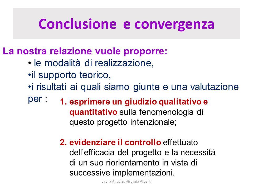 Conclusione e convergenza Laura Antichi, Virginia Alberti La nostra relazione vuole proporre: le modalità di realizzazione, il supporto teorico, i ris