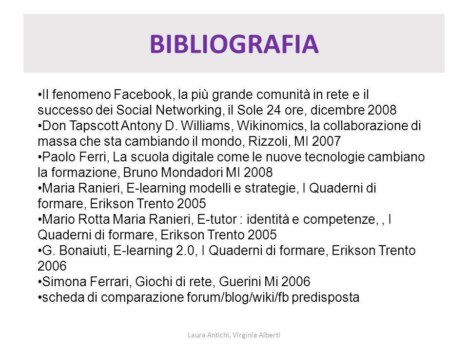 BIBLIOGRAFIA Laura Antichi, Virginia Alberti Il fenomeno Facebook, la più grande comunità in rete e il successo dei Social Networking, il Sole 24 ore,