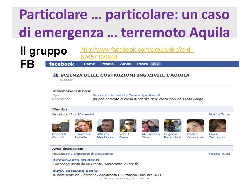 Particolare … particolare: un caso di emergenza … terremoto Aquila Laura Antichi, Virginia Alberti Il gruppo FB http://www.facebook.com/group.php?gid=
