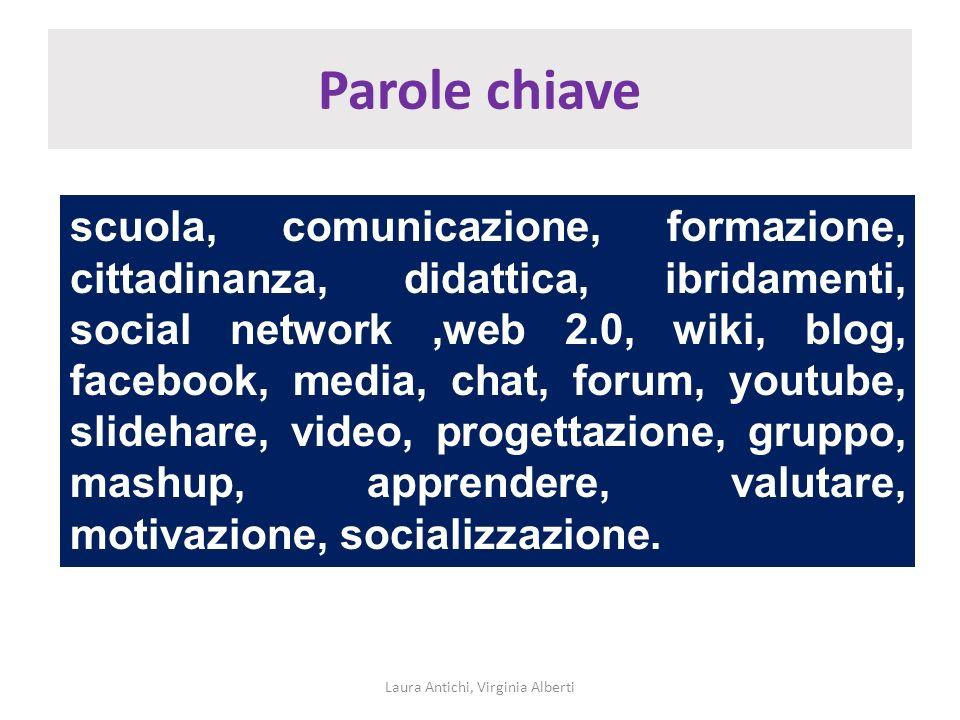Parole chiave Laura Antichi, Virginia Alberti scuola, comunicazione, formazione, cittadinanza, didattica, ibridamenti, social network,web 2.0, wiki, b