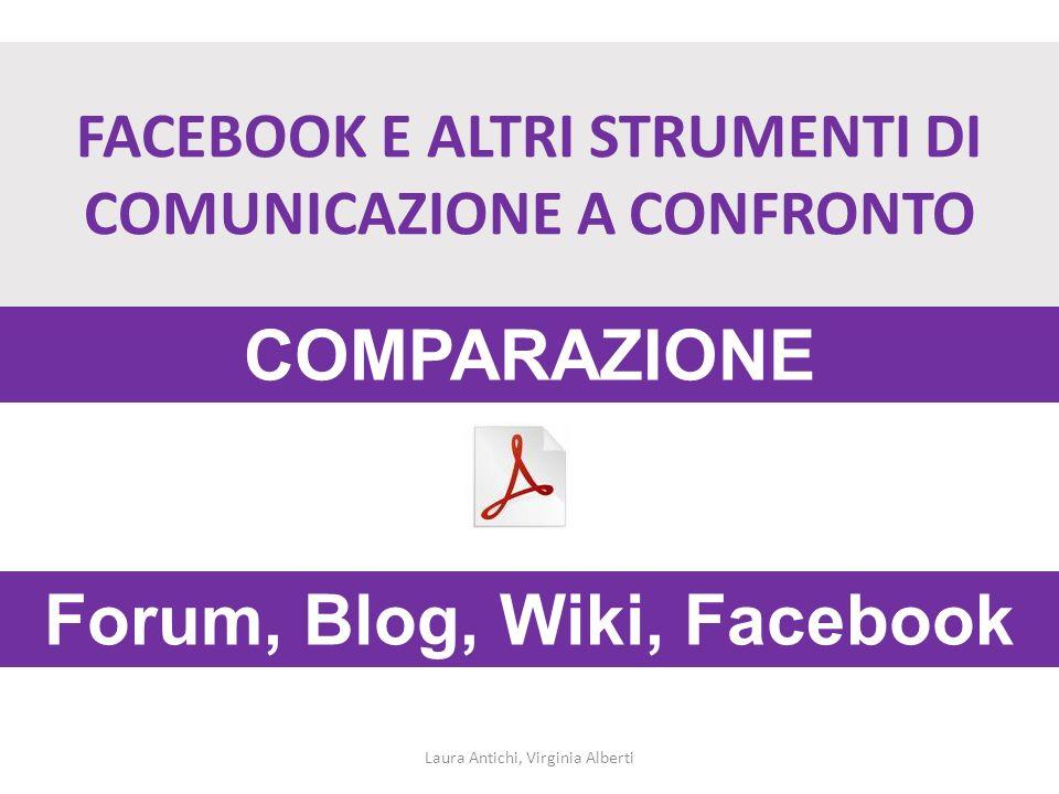FACEBOOK E ALTRI STRUMENTI DI COMUNICAZIONE A CONFRONTO Laura Antichi, Virginia Alberti Forum, Blog, Wiki, Facebook COMPARAZIONE