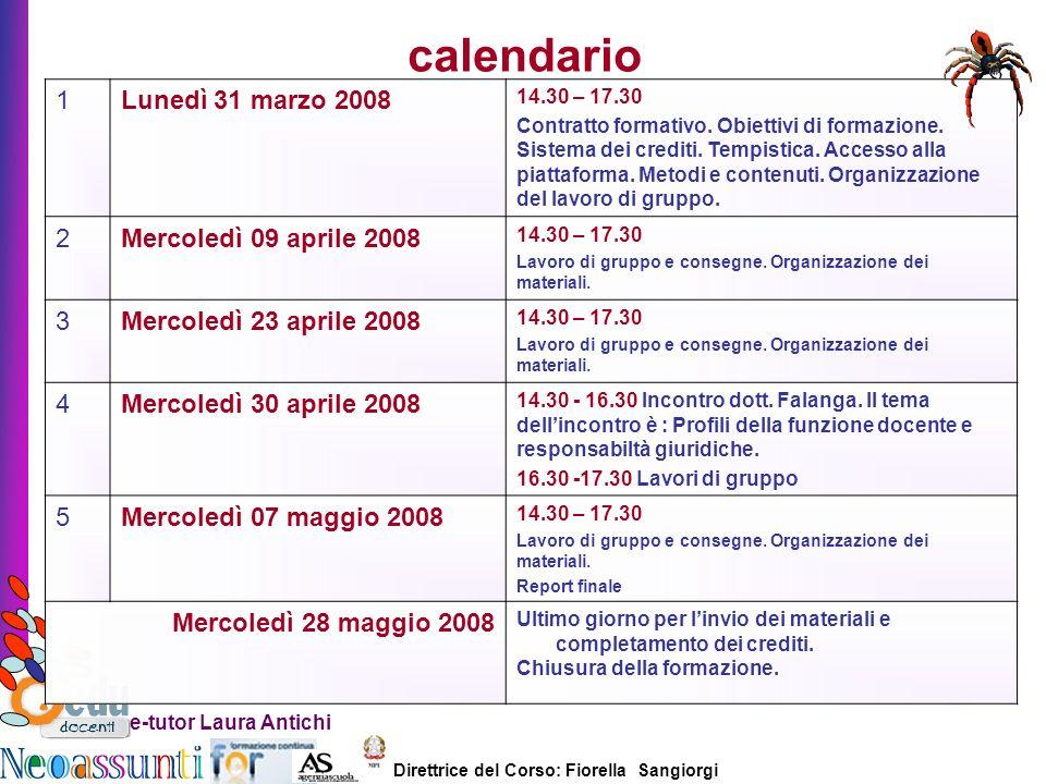 Direttrice del Corso: Fiorella Sangiorgi e-tutor Laura Antichi calendario 1Lunedì 31 marzo 2008 14.30 – 17.30 Contratto formativo. Obiettivi di formaz