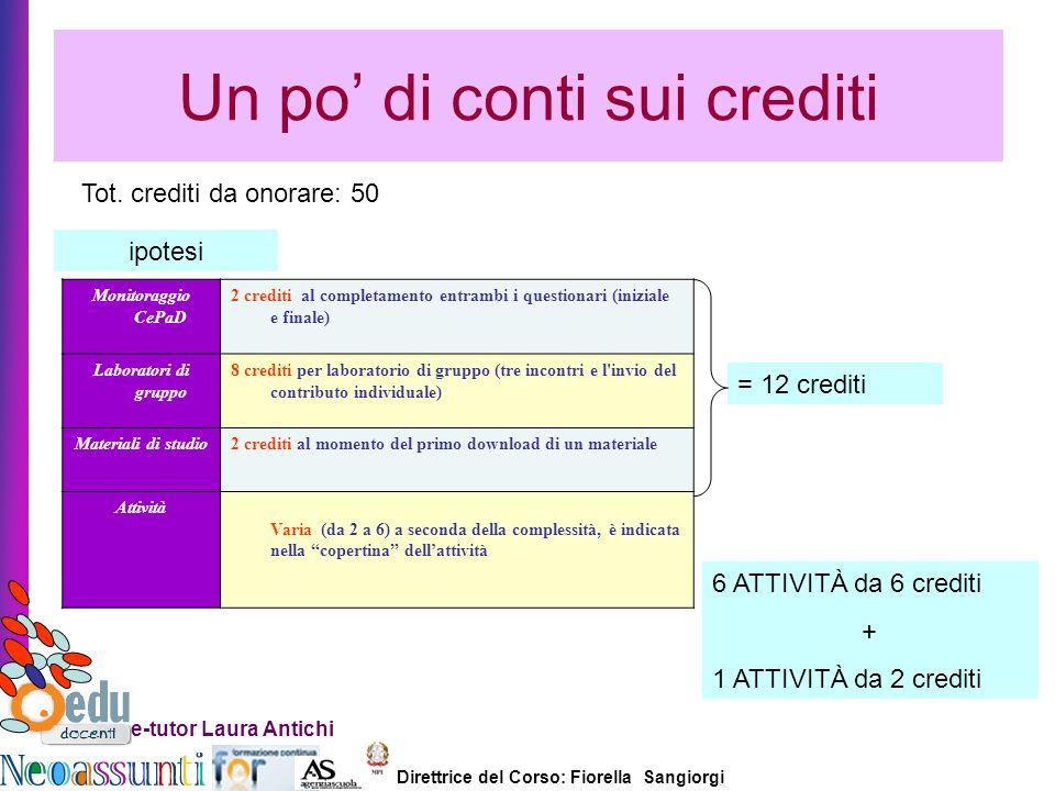 Direttrice del Corso: Fiorella Sangiorgi e-tutor Laura Antichi Un po di conti sui crediti Tot. crediti da onorare: 50 ipotesi = 12 crediti Monitoraggi