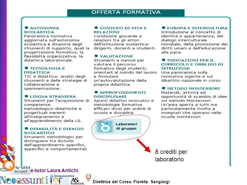 Direttrice del Corso: Fiorella Sangiorgi e-tutor Laura Antichi 8 crediti per laboratorio