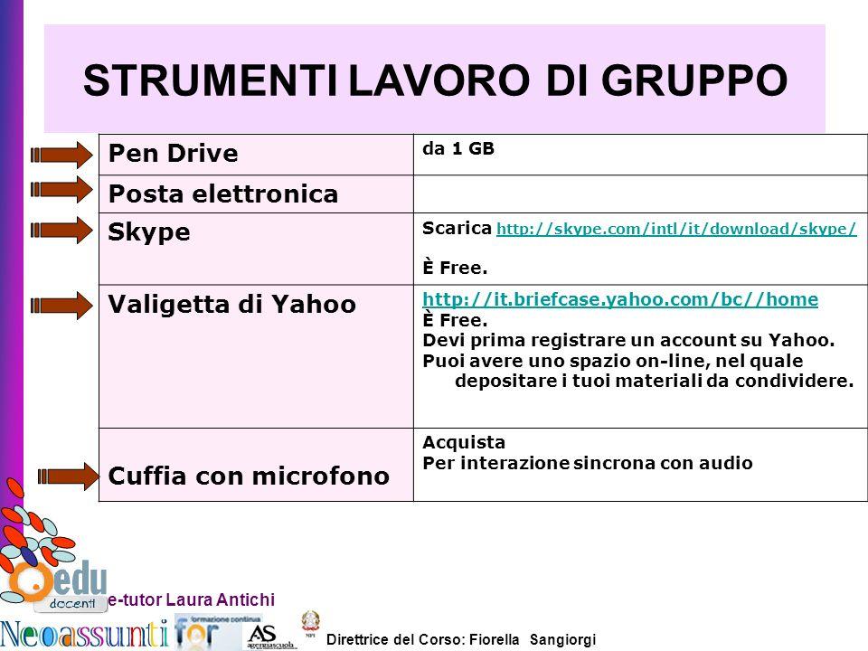 Direttrice del Corso: Fiorella Sangiorgi e-tutor Laura Antichi STRUMENTI LAVORO DI GRUPPO Pen Drive da 1 GB Posta elettronica Skype Scarica http://sky