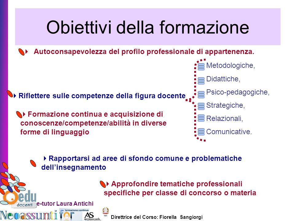 Direttrice del Corso: Fiorella Sangiorgi e-tutor Laura Antichi Obiettivi della formazione Autoconsapevolezza del profilo professionale di appartenenza