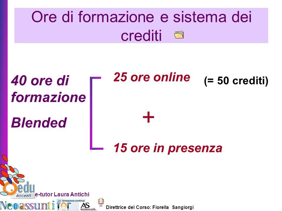 Direttrice del Corso: Fiorella Sangiorgi e-tutor Laura Antichi Ore di formazione e sistema dei crediti + 40 ore di formazione Blended 25 ore online 15