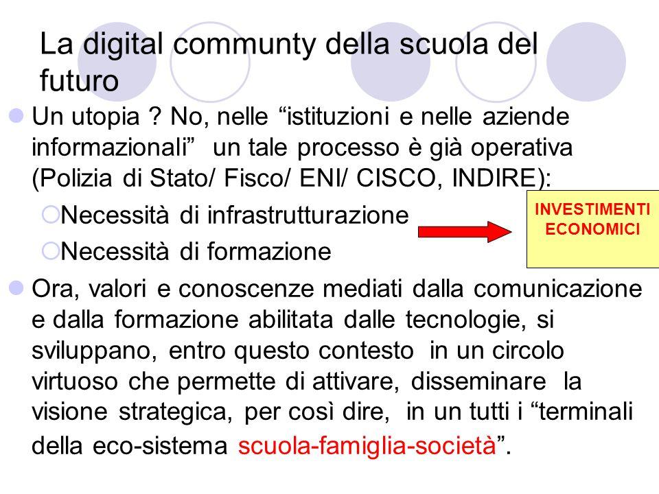 La digital communty della scuola del futuro Un utopia ? No, nelle istituzioni e nelle aziende informazionali un tale processo è già operativa (Polizia