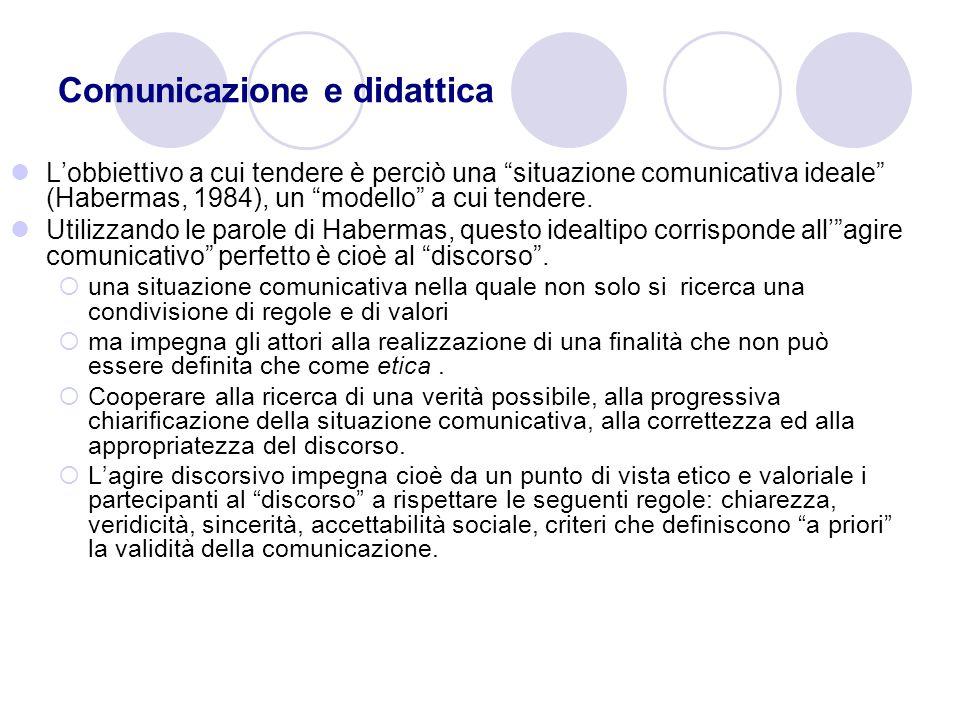 Comunicazione e didattica Lobbiettivo a cui tendere è perciò una situazione comunicativa ideale (Habermas, 1984), un modello a cui tendere. Utilizzand