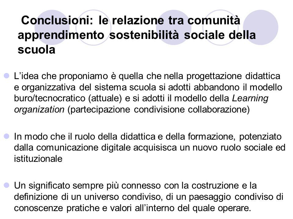 Conclusioni: le relazione tra comunità apprendimento sostenibilità sociale della scuola Lidea che proponiamo è quella che nella progettazione didattic
