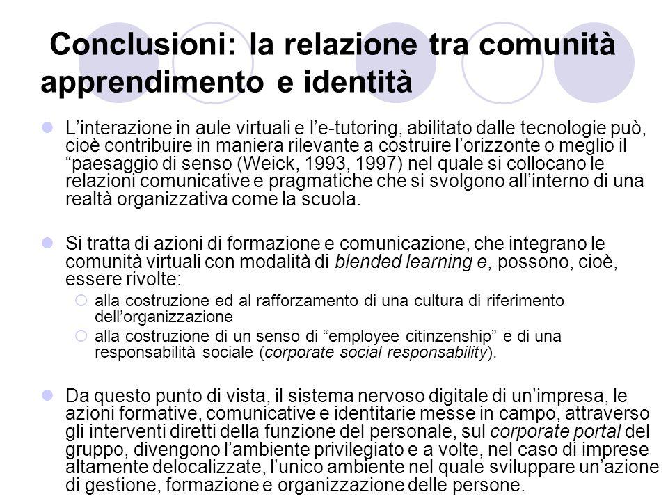 Conclusioni: la relazione tra comunità apprendimento e identità Linterazione in aule virtuali e le-tutoring, abilitato dalle tecnologie può, cioè cont