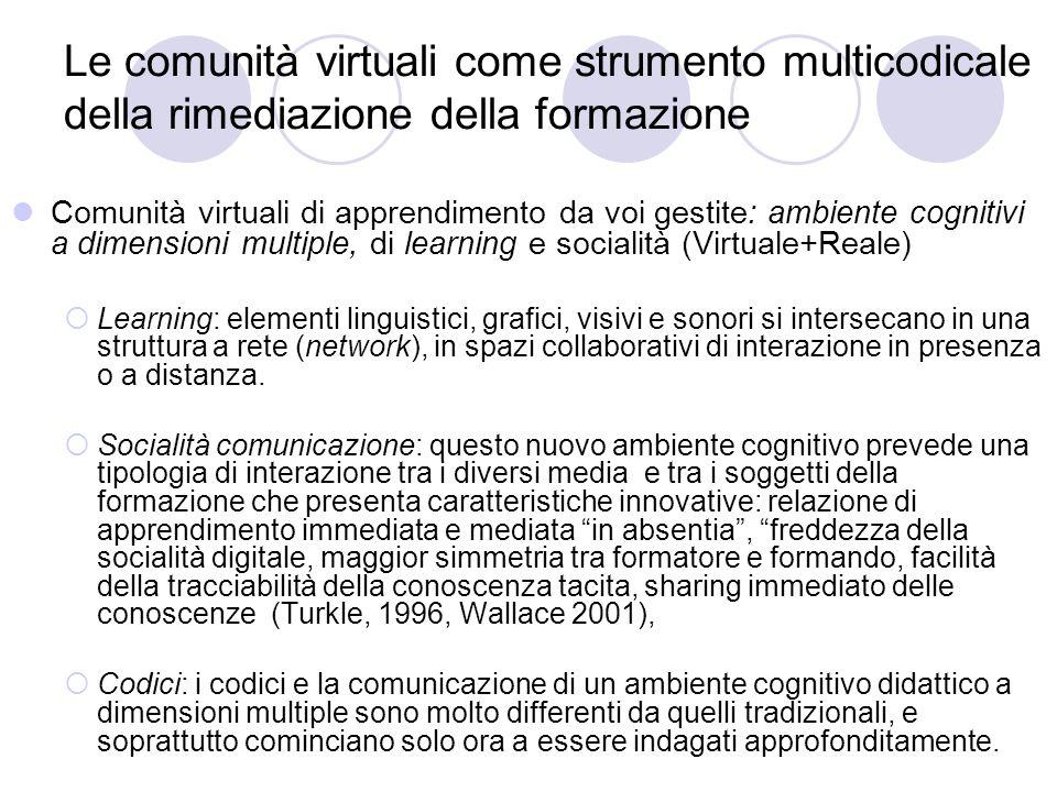Le comunità virtuali come strumento multicodicale della rimediazione della formazione Comunità virtuali di apprendimento da voi gestite: ambiente cogn