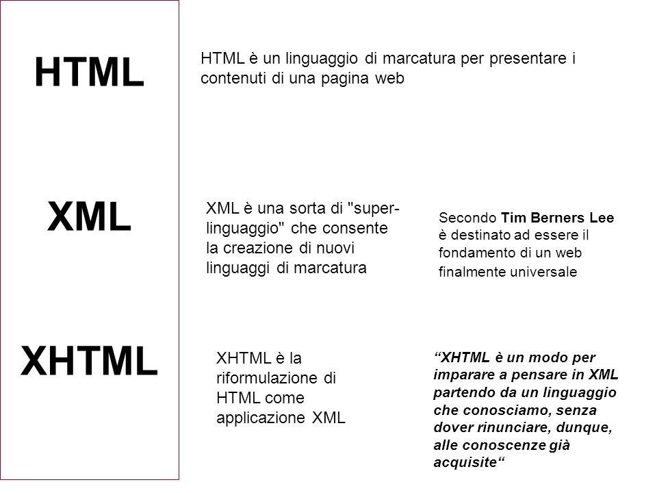 HTML XML XHTML HTML è un linguaggio di marcatura per presentare i contenuti di una pagina web XML è una sorta di super- linguaggio che consente la creazione di nuovi linguaggi di marcatura XHTML è la riformulazione di HTML come applicazione XML XHTML è un modo per imparare a pensare in XML partendo da un linguaggio che conosciamo, senza dover rinunciare, dunque, alle conoscenze già acquisite Secondo Tim Berners Lee è destinato ad essere il fondamento di un web finalmente universale