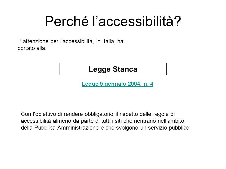 Perché laccessibilità. Legge 9 gennaio 2004, n.