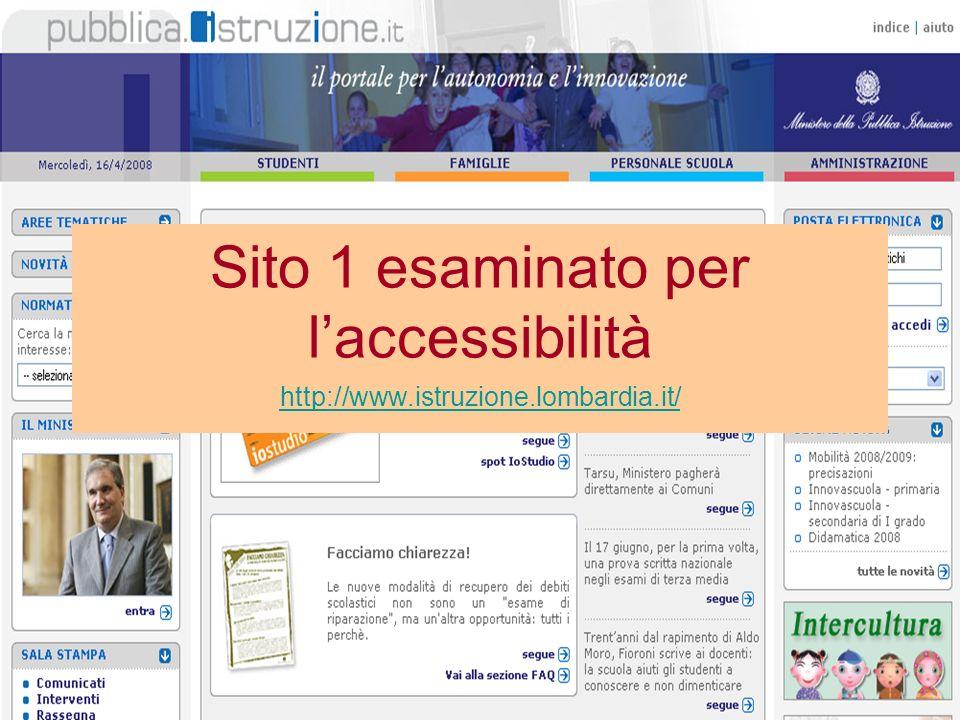 Sito 1 esaminato per laccessibilità http://www.istruzione.lombardia.it/