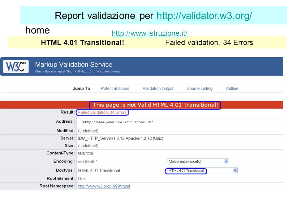 Report validazione per http://validator.w3.org/http://validator.w3.org/ HTML 4.01 Transitional! Failed validation, 34 Errors http://www.istruzione.it/