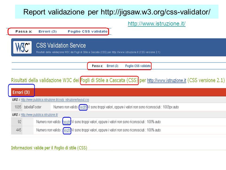 Report validazione per http://jigsaw.w3.org/css-validator/ http://www.istruzione.it/