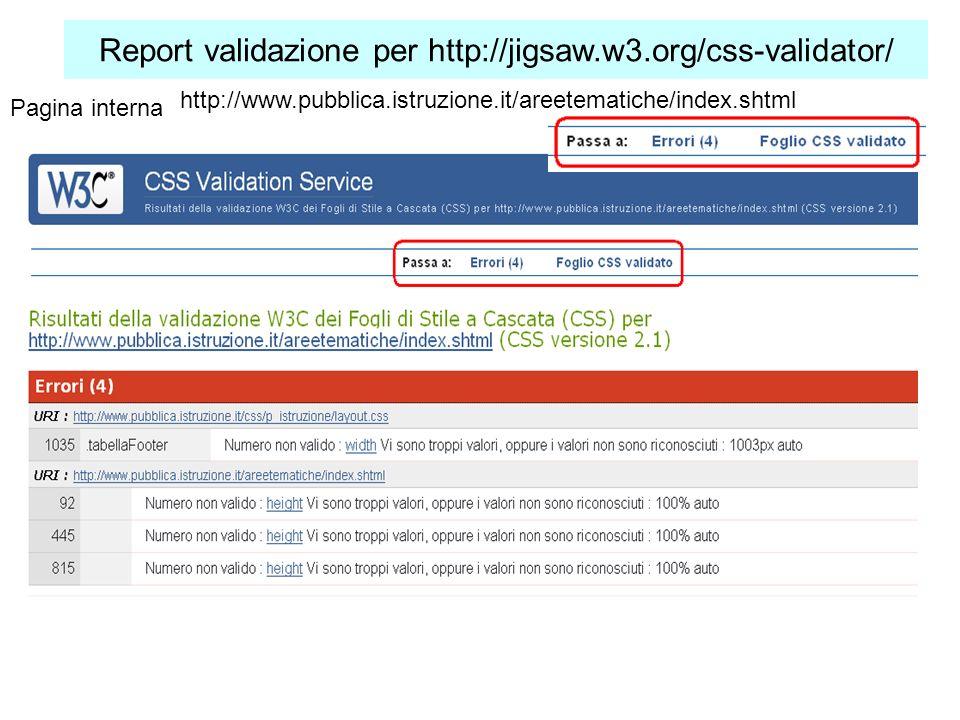 Report validazione per http://jigsaw.w3.org/css-validator/ Pagina interna http://www.pubblica.istruzione.it/areetematiche/index.shtml