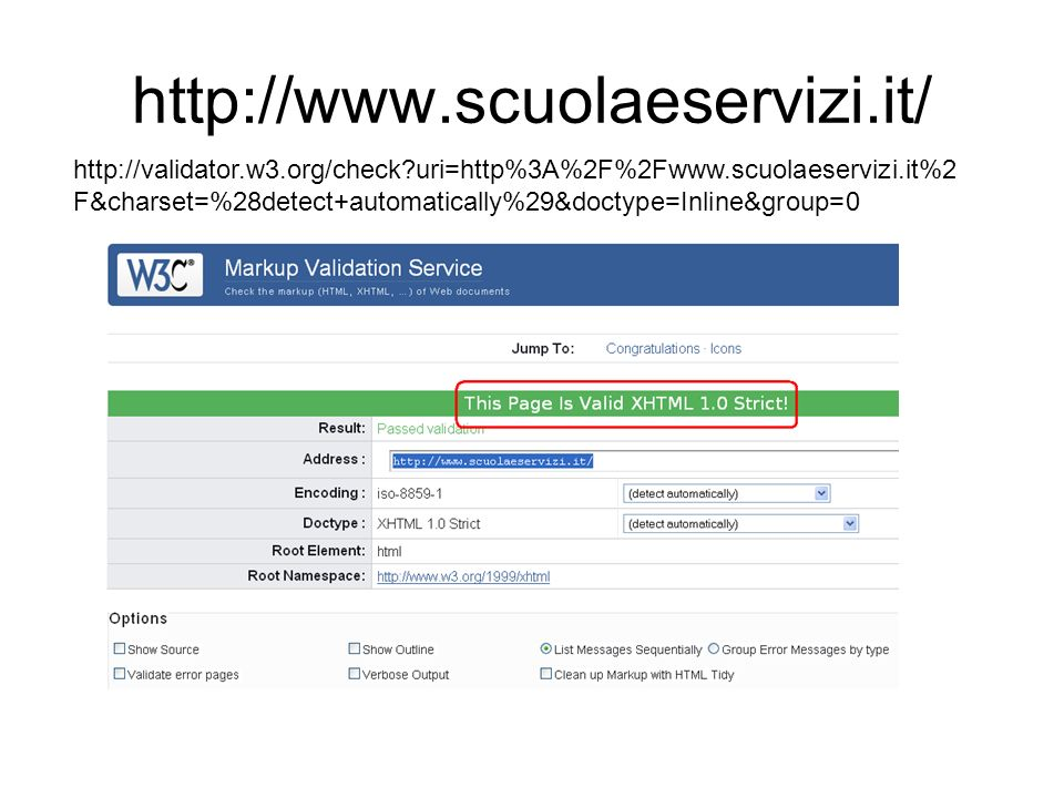 http://www.scuolaeservizi.it/ http://validator.w3.org/check uri=http%3A%2F%2Fwww.scuolaeservizi.it%2 F&charset=%28detect+automatically%29&doctype=Inline&group=0