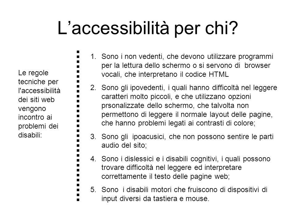 Link http://webdesign.html.it/guide/leggi/45/guida-accessibilita-dei-siti-web-pratica/ Guida http://www.htmlhelp.com/tools/validator/ Il sito fornisce utilissime notizie e suggerimenti su possibili problemi nella convalida.