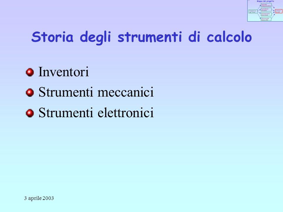 3 aprile 2003 Storia degli strumenti di calcolo Inventori Strumenti meccanici Strumenti elettronici