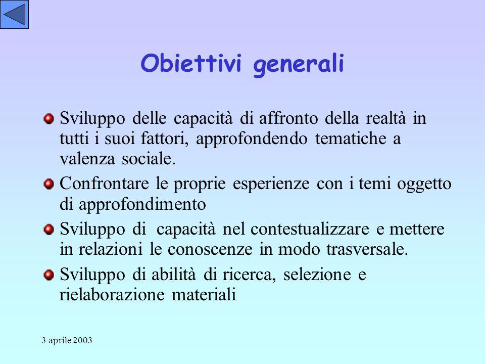 3 aprile 2003 Obiettivi generali Sviluppo delle capacità di affronto della realtà in tutti i suoi fattori, approfondendo tematiche a valenza sociale.