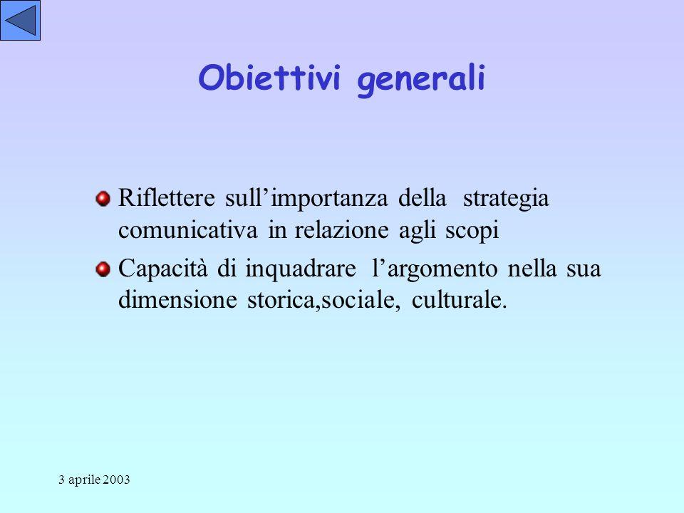3 aprile 2003 Riflettere sullimportanza della strategia comunicativa in relazione agli scopi Capacità di inquadrare largomento nella sua dimensione storica,sociale, culturale.