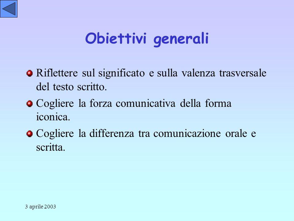 3 aprile 2003 Obiettivi generali Riflettere sul significato e sulla valenza trasversale del testo scritto.