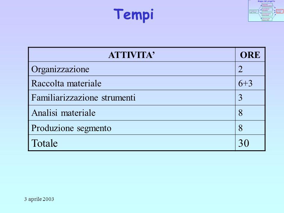 3 aprile 2003 Tempi ATTIVITAORE Organizzazione2 Raccolta materiale6+3 Familiarizzazione strumenti3 Analisi materiale8 Produzione segmento8 Totale30