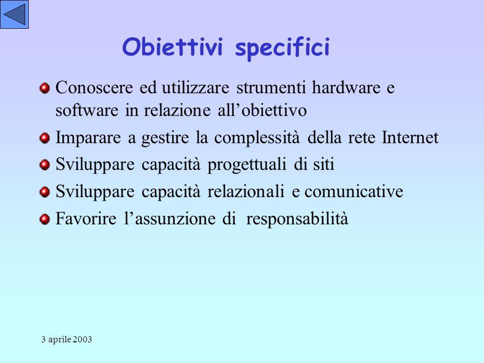 3 aprile 2003 Obiettivi specifici Conoscere ed utilizzare strumenti hardware e software in relazione allobiettivo Imparare a gestire la complessità della rete Internet Sviluppare capacità progettuali di siti Sviluppare capacità relazionali e comunicative Favorire lassunzione di responsabilità