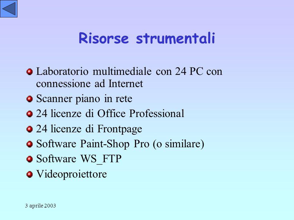 3 aprile 2003 Risorse strumentali Laboratorio multimediale con 24 PC con connessione ad Internet Scanner piano in rete 24 licenze di Office Professional 24 licenze di Frontpage Software Paint-Shop Pro (o similare) Software WS_FTP Videoproiettore