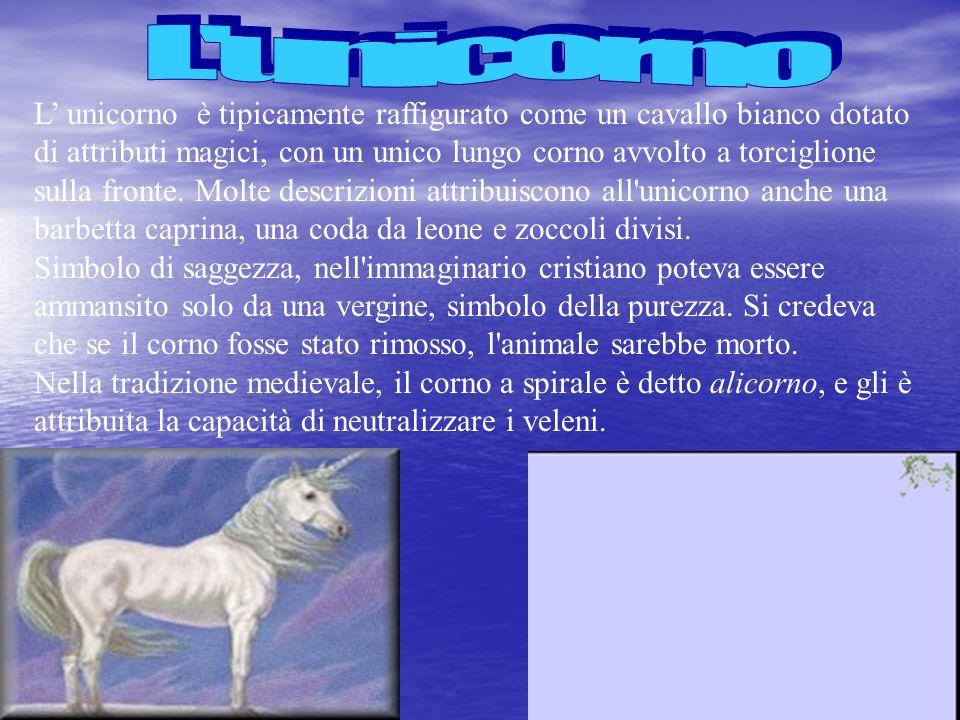 L unicorno è tipicamente raffigurato come un cavallo bianco dotato di attributi magici, con un unico lungo corno avvolto a torciglione sulla fronte. M