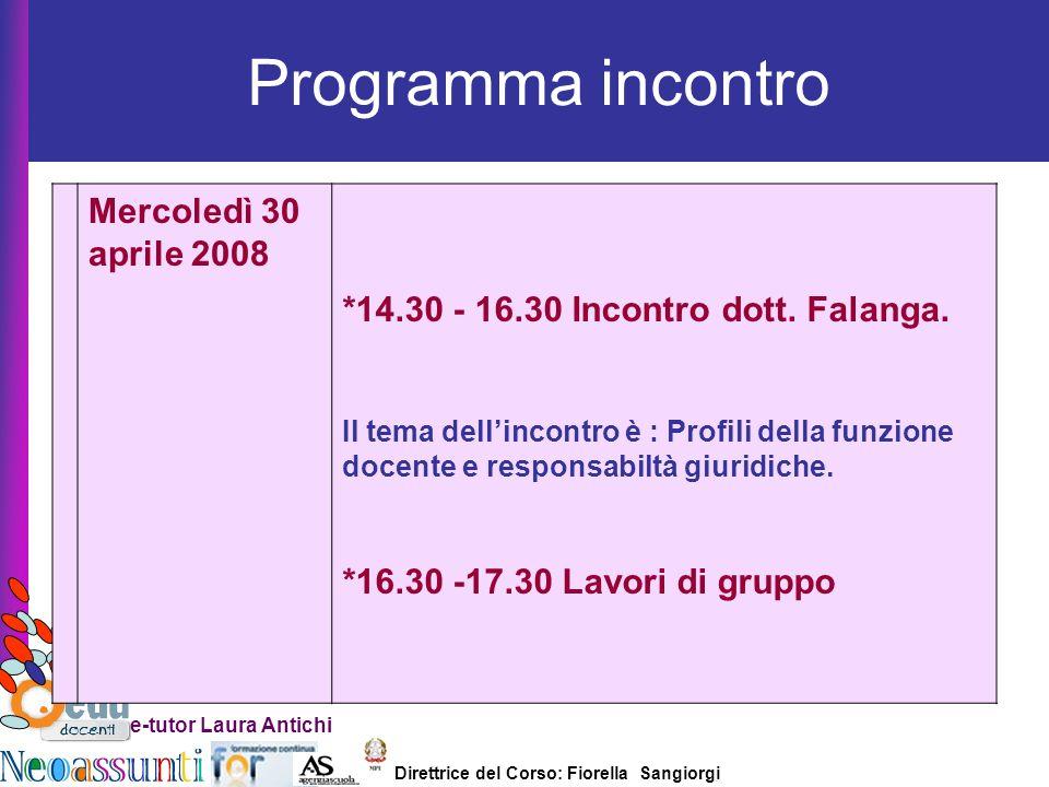 Direttrice del Corso: Fiorella Sangiorgi e-tutor Laura Antichi N.