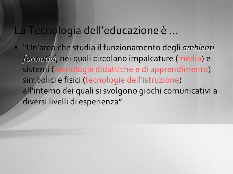 La Tecnologia delleducazione è … ambienti formativiUnarea che studia il funzionamento degli ambienti formativi, nei quali circolano impalcature (media