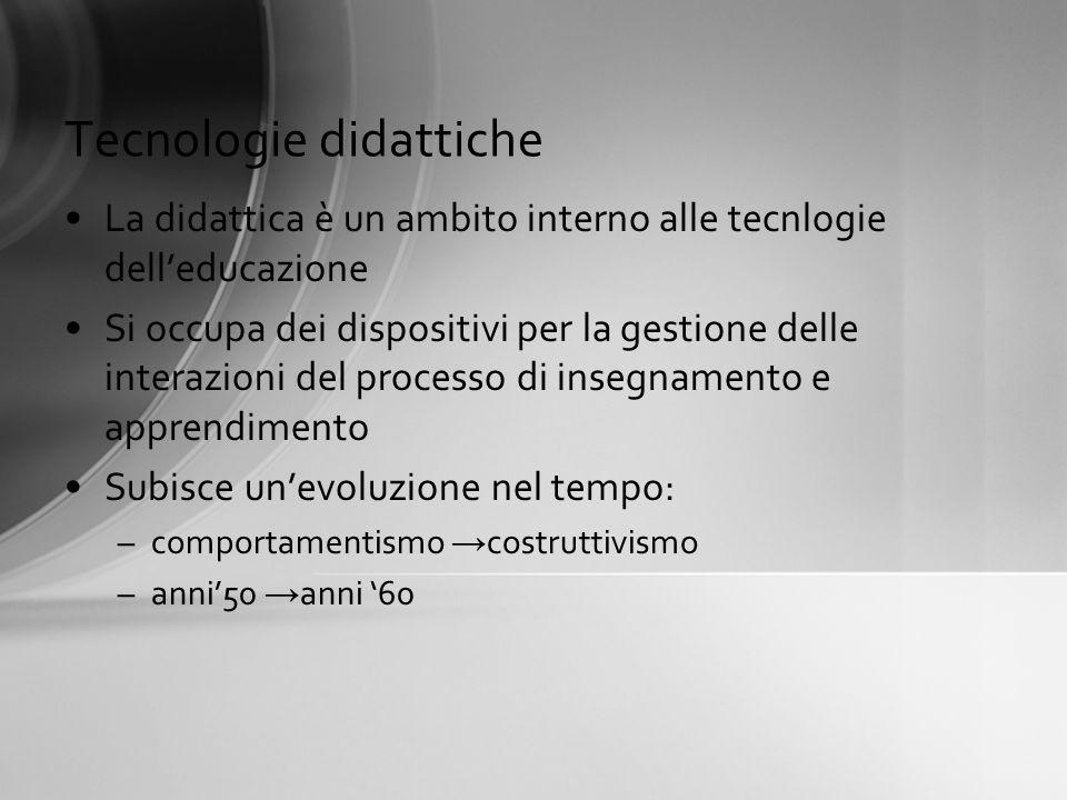 Tecnologie didattiche La didattica è un ambito interno alle tecnlogie delleducazione Si occupa dei dispositivi per la gestione delle interazioni del p