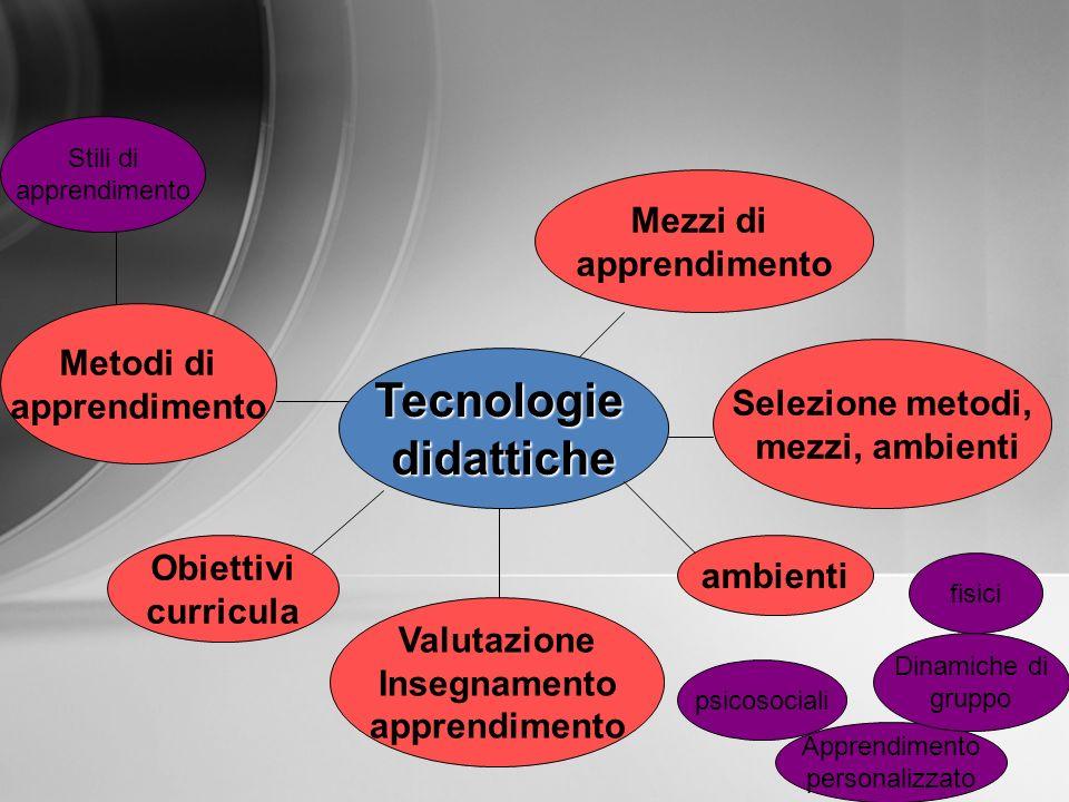 Tecnologiedidattiche fisici Stili di apprendimento Valutazione Insegnamento apprendimento Mezzi di apprendimento Metodi di apprendimento ambienti Sele