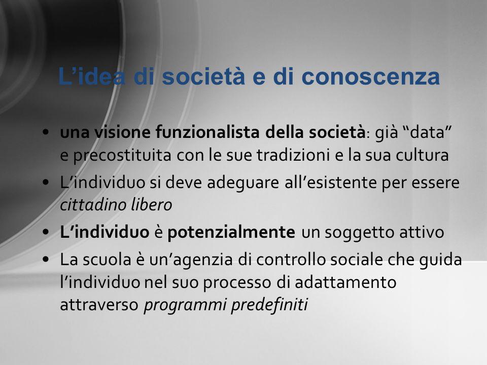 una visione funzionalista della società : già data e precostituita con le sue tradizioni e la sua cultura Lindividuo si deve adeguare allesistente per
