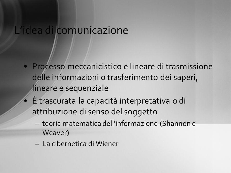 Lidea di comunicazione Processo meccanicistico e lineare di trasmissione delle informazioni o trasferimento dei saperi, lineare e sequenziale È trascu