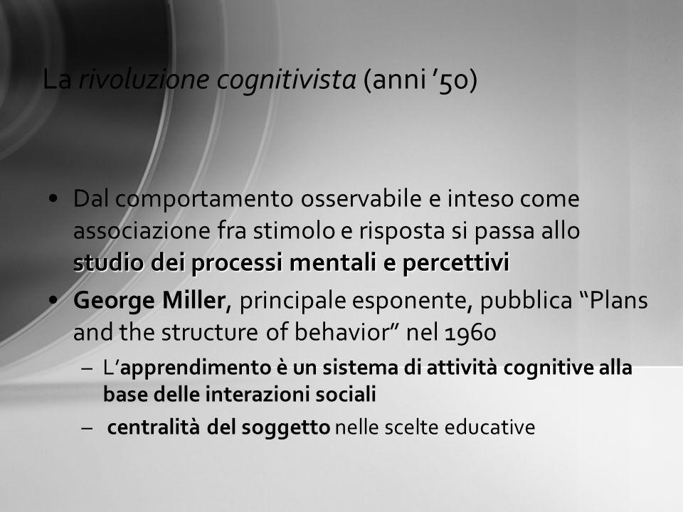 La rivoluzione cognitivista (anni 50) studio dei processi mentali e percettiviDal comportamento osservabile e inteso come associazione fra stimolo e r