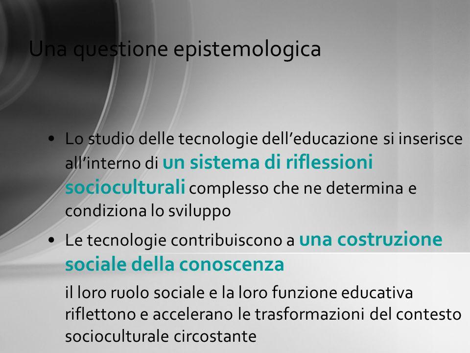 Tecnologia delleducazione dagli anni 60 agli anni 90 Tecnologie per leducazioneTecnologia dellistruzione Media Metodi didattici Due poli orientativi di analisi Strategie e tecniche della didattica 12 3