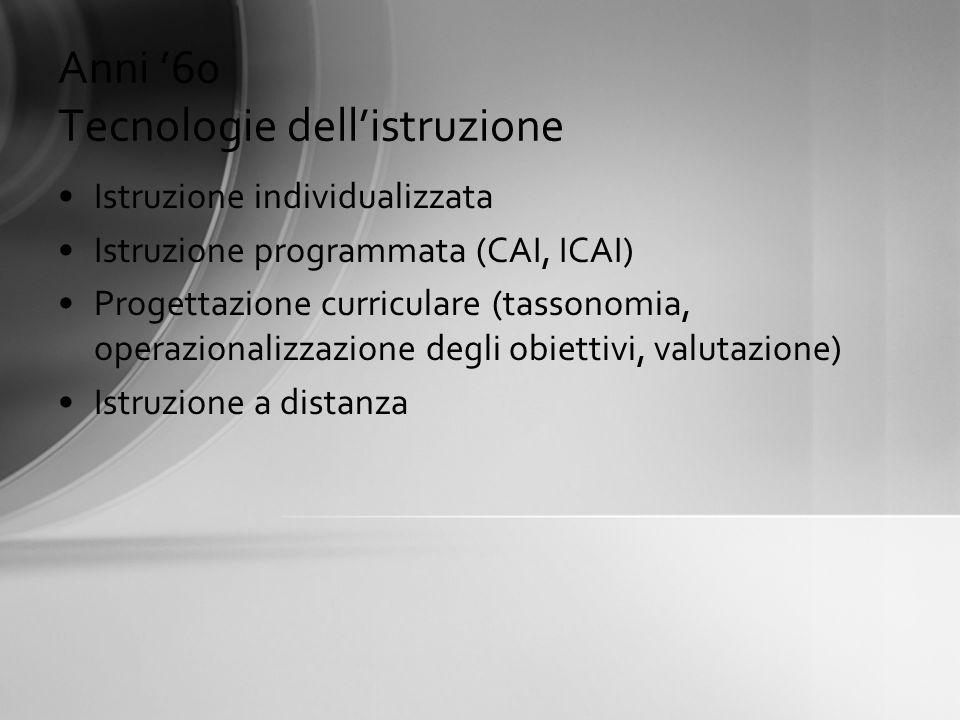 Anni 60 Tecnologie dellistruzione Istruzione individualizzata Istruzione programmata (CAI, ICAI) Progettazione curriculare (tassonomia, operazionalizz