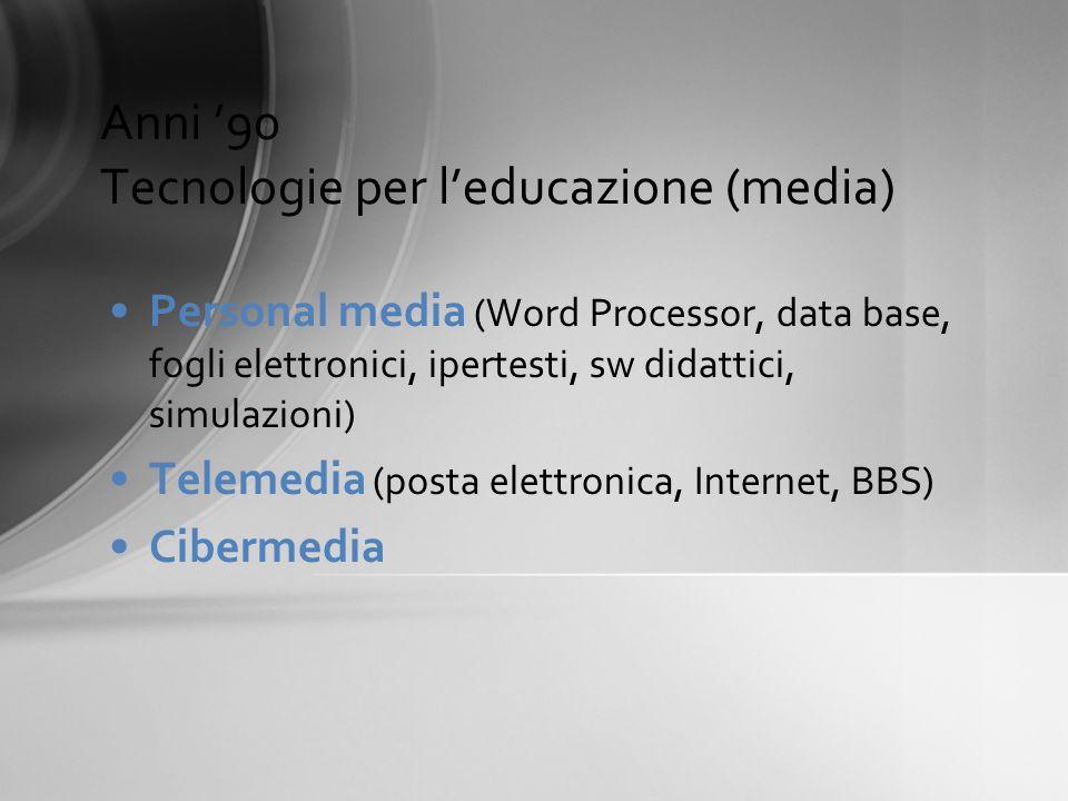 Anni 90 Tecnologie per leducazione (media) Personal media (Word Processor, data base, fogli elettronici, ipertesti, sw didattici, simulazioni) Telemed