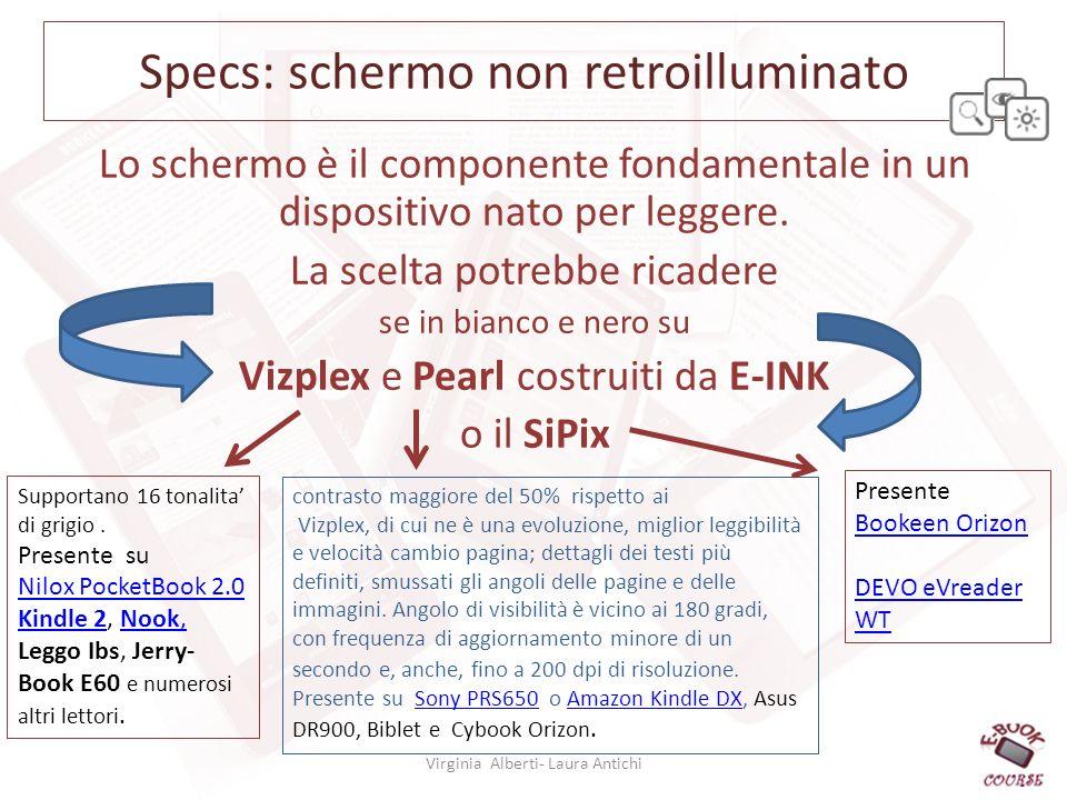 Specs: schermo non retroilluminato Lo schermo è il componente fondamentale in un dispositivo nato per leggere.