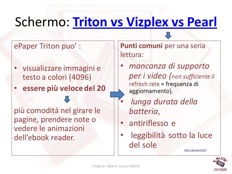Schermo: Triton vs Vizplex vs PearlTriton vs Vizplex vs Pearl ePaper Triton puo : visualizzare immagini e testo a colori (4096) essere più veloce del 20 più comodità nel girare le pagine, prendere note o vedere le animazioni dellebook reader.