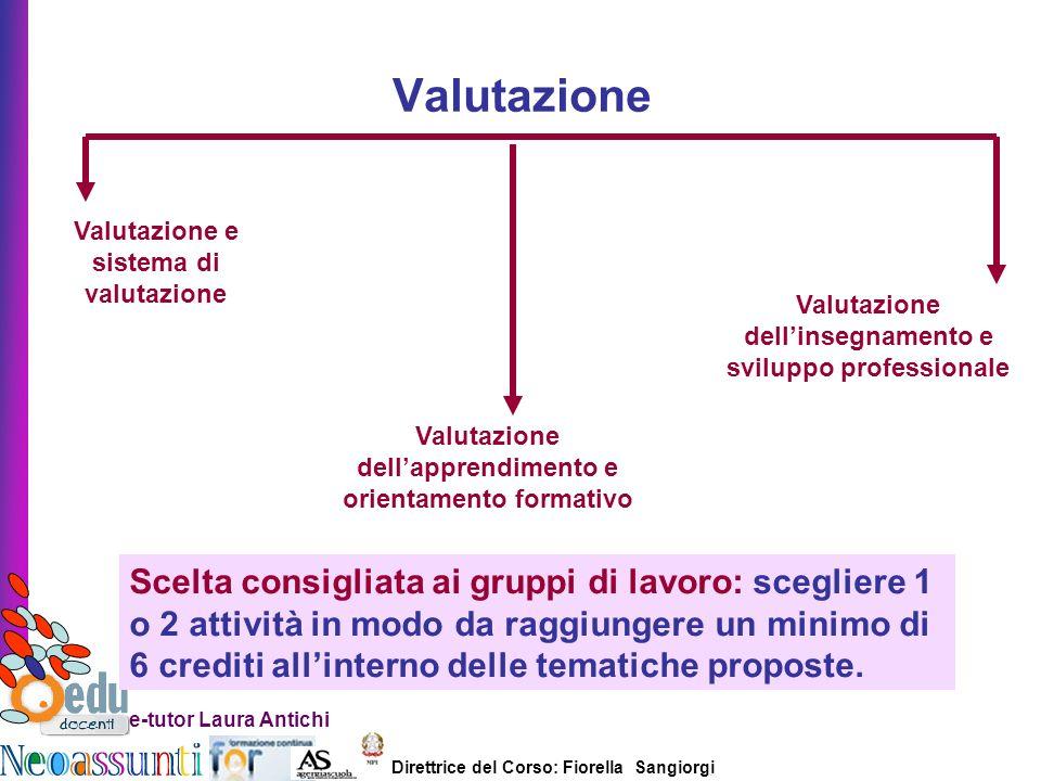 Direttrice del Corso: Fiorella Sangiorgi e-tutor Laura Antichi Valutazione Valutazione e sistema di valutazione Valutazione dellapprendimento e orient