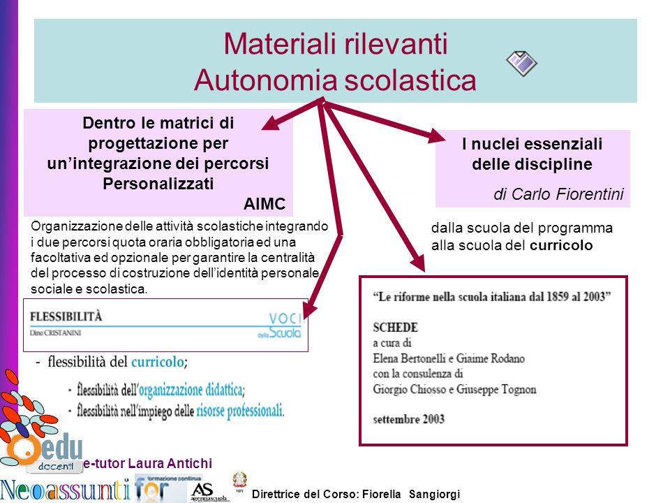 Direttrice del Corso: Fiorella Sangiorgi e-tutor Laura Antichi Materiali rilevanti Autonomia scolastica Organizzazione delle attività scolastiche inte