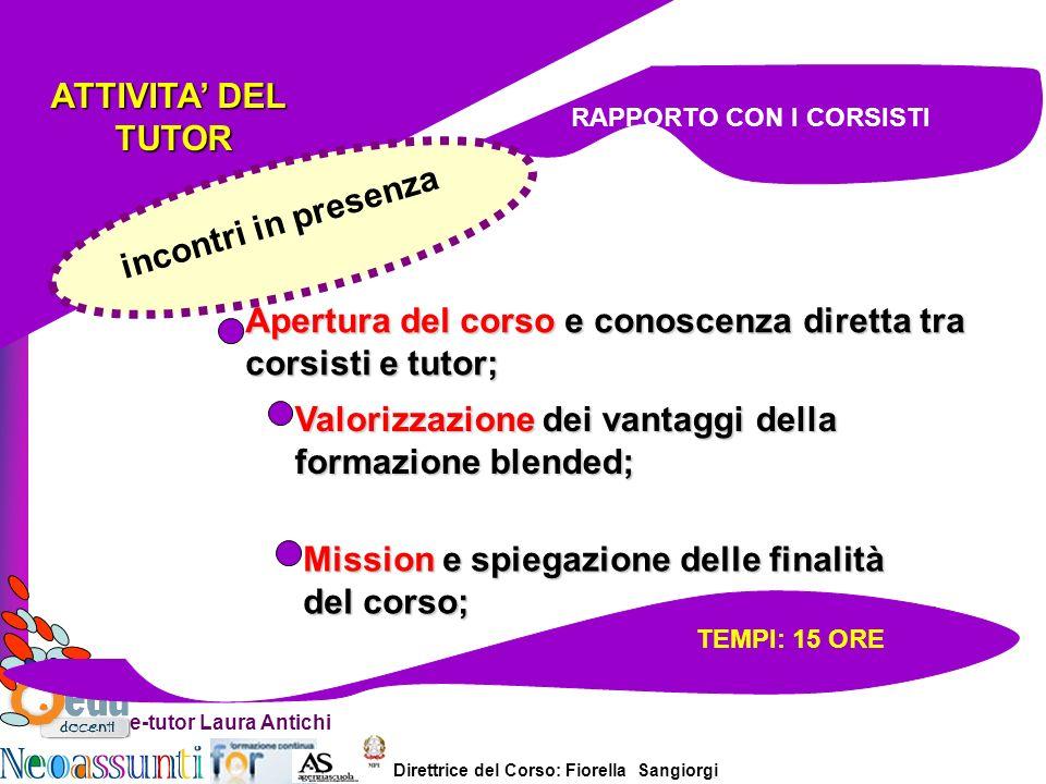 Direttrice del Corso: Fiorella Sangiorgi e-tutor Laura Antichi ATTIVITA DEL TUTOR TUTOR Apertura del corso e conoscenza diretta tra corsisti e tutor;