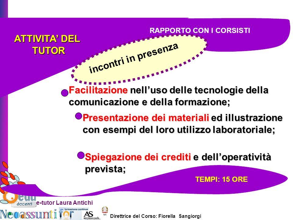 Direttrice del Corso: Fiorella Sangiorgi e-tutor Laura Antichi ATTIVITA DEL TUTOR TUTOR Facilitazione nelluso delle tecnologie della comunicazione e d